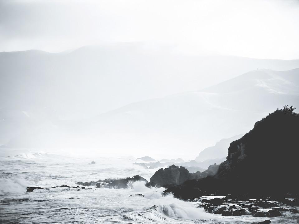 Kust, Stenar, Ocean, Vågor, Tidvatten, Skumma, Spray