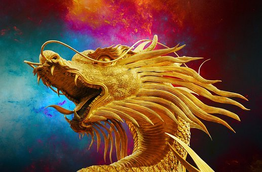 Dragon, Broncefigur, Golden Dragon