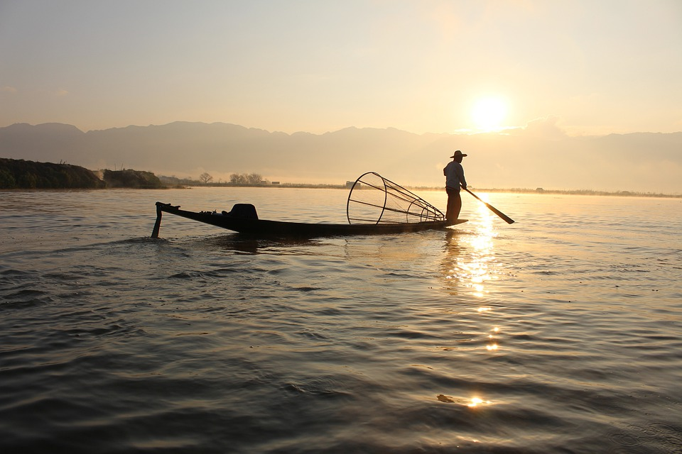 Wallpaper Fisherman Sunset Boat Hd Creative Graphics: Free Photo: Fisherman, Boat, Inle Lake, Myanmar