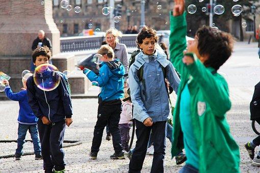 肥皂气泡, 肥皂泡, 城市, 儿童, 播放, 气泡, 快乐, 乐趣, 哥本哈根