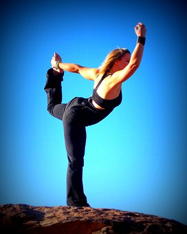 Yoga, Dancer, Sky, Blue, Rocks, Blue Sky