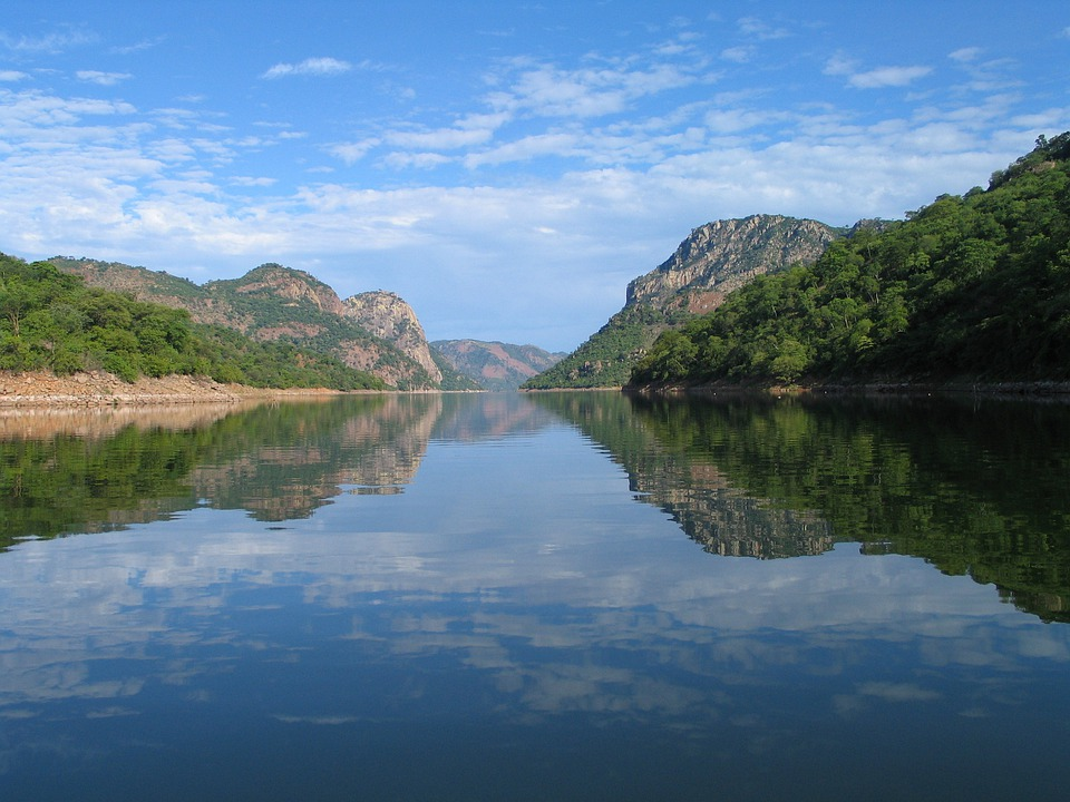 Songo, River, Mountains, Water, Reflection, Sky, Blue
