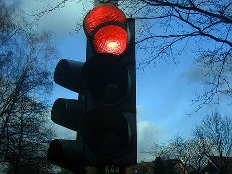 信号, 赤, 停止, 光信号, 交通信号機