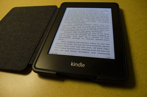 A kindle book represented by a brown android with an opened page