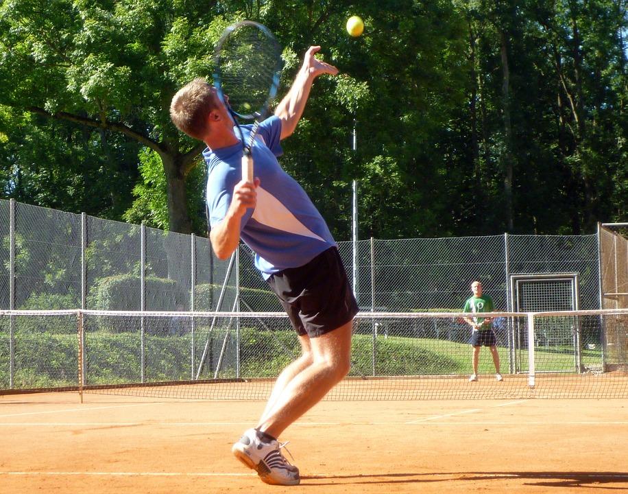 テニス, テニスをします, ダイナミクス, 強力な, スポーツ, 競争, レジャー, ボール, 若い
