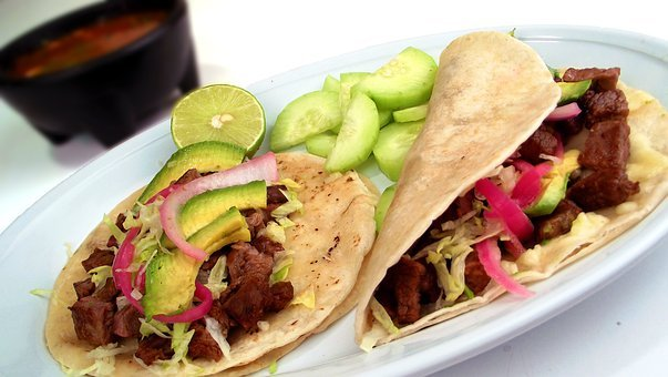 Tacos Mexican Carne Asada Food Plate Meal