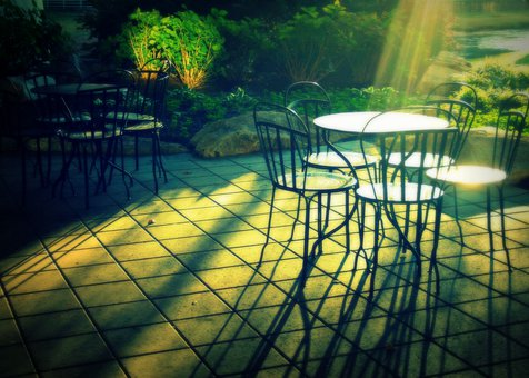 Patio, Morning, Chairs, Outside, Table