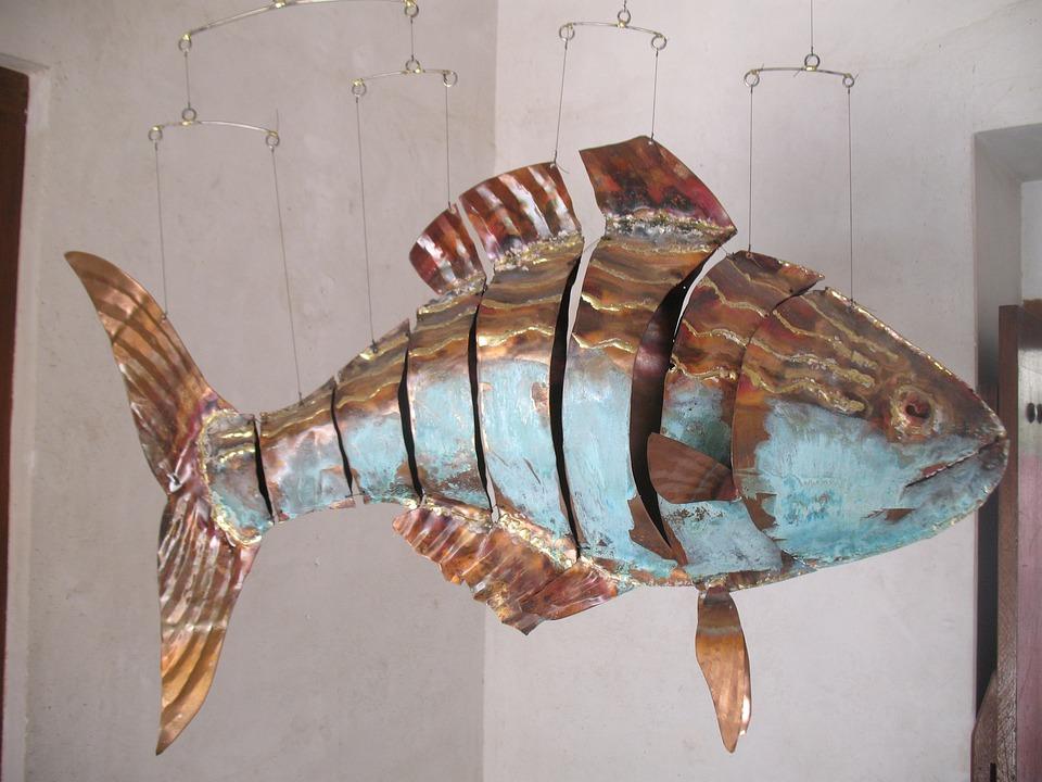 Free photo fish artwork sheet metal image on