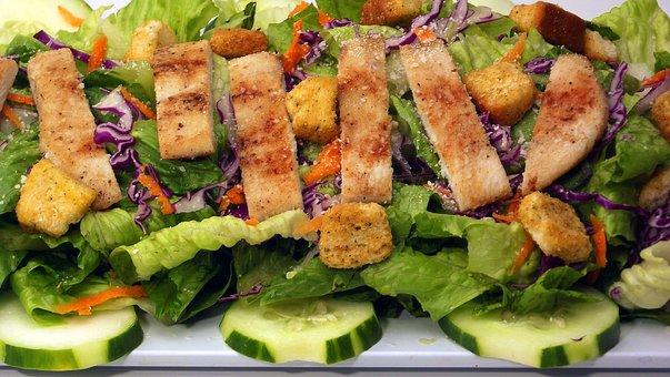 Caesar, Chicken, Salad, Food, Plate