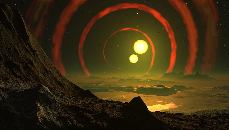 Beta Lyrae, Space, Double Sun, Landscape, Sky