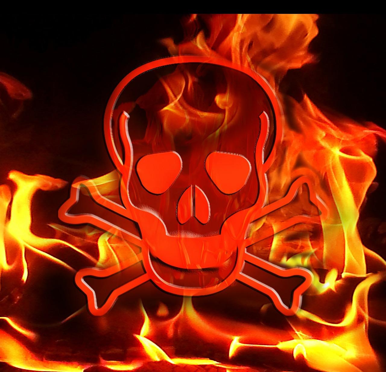 это картинки черепов в огне с костями хорошо
