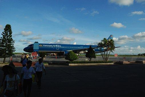 飛行機, Catbi 空港, 航空機, 離陸, ベトナム航空