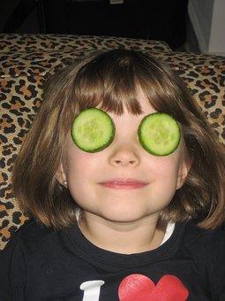 Cucumber, Mask, Child, Face