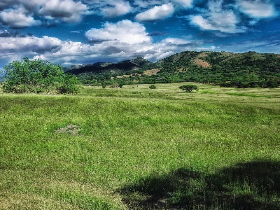 Portoryko, Krajobraz, Sceniczny, Niebo, Chmury, Góry