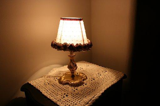 Lamp, Nightstand, Crochet Towel