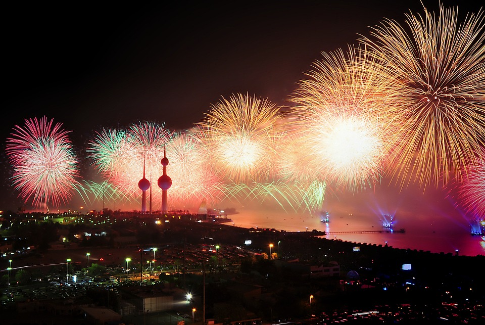 Kuwait, Fireworks, Display, Lights, Pyrotechnics, Night