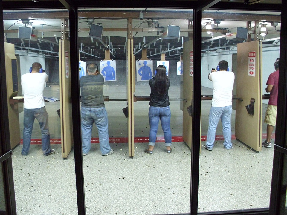 Gun, Range, Shooters, Male, Target, Shooting, Training