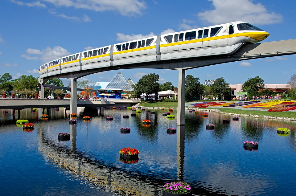 Disney, Tram, Train, Track, Transportation, Transport