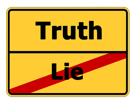 Truth Lie Street Sign Contrast Contrary No