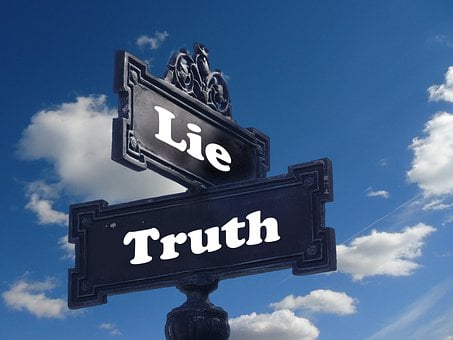 Truth, Lie, Street Sign, Contrast