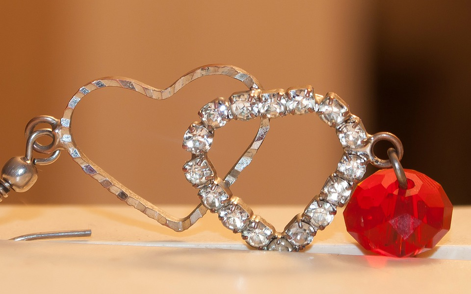 Heart, Red, Earring, Jewelry, Crystal, Silver, Fashion