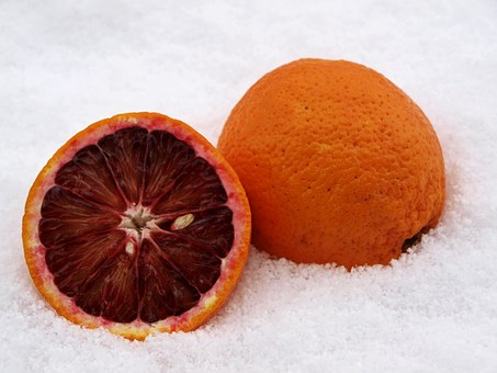 Blood Orange, Citrus Fruit, Orange, Snow