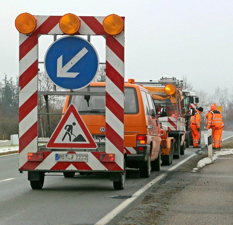 Road Works, Barrier, Warning, Attention, Warning Lights