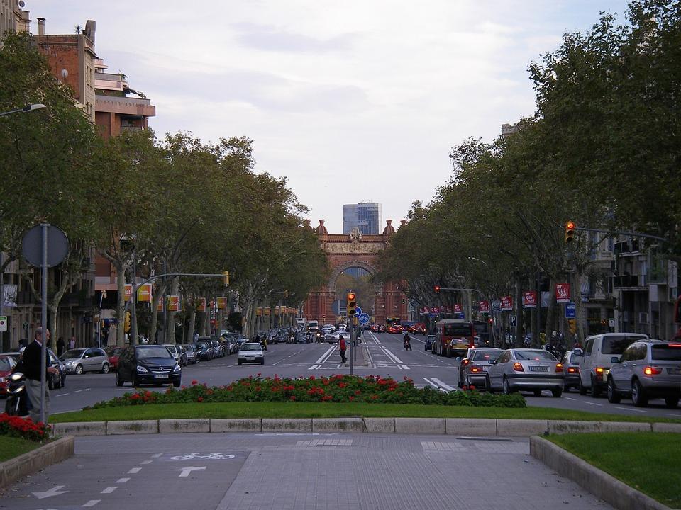도시, 거리, 라스 람블라 스, 바르셀로나, 도시의, 도로, 교통, 아치, 게이트웨이, 건축물