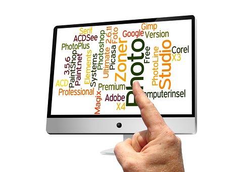 Monitor, Palavras, Mão, Dedo, Contato
