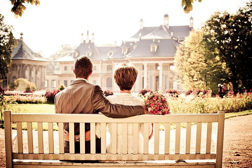 Couple, Bride, Love, Wedding, Bench