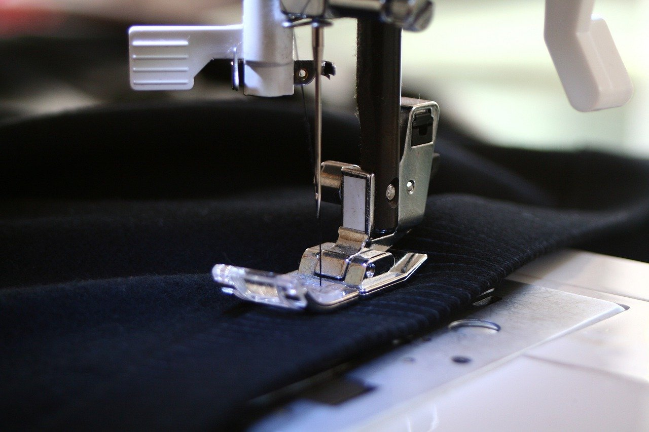 cloth on a sewing machine