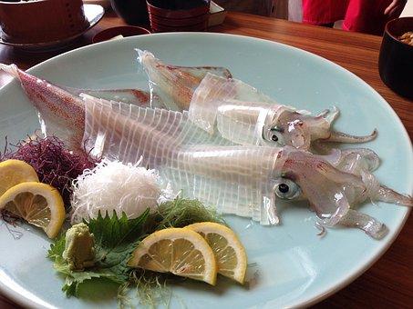 イカ, 刺身, 日本, 食事, サービスを提供, 昼食, 夕食, プレート