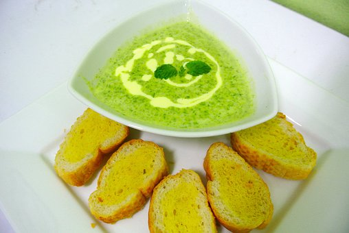Food Soup Spinach Soup Bread Vegetables Br