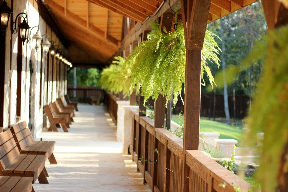 Porch, Outdoor, Country, Event Venue, Fern, Wedding
