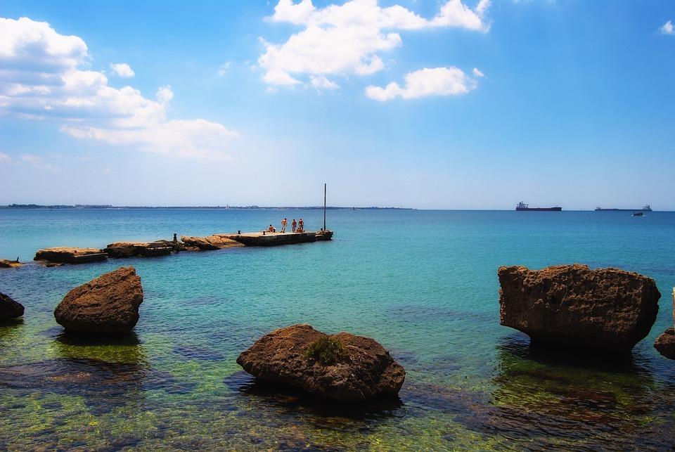 Taranto, Sea, Harbor, Water, Italy, Rocks, Clouds
