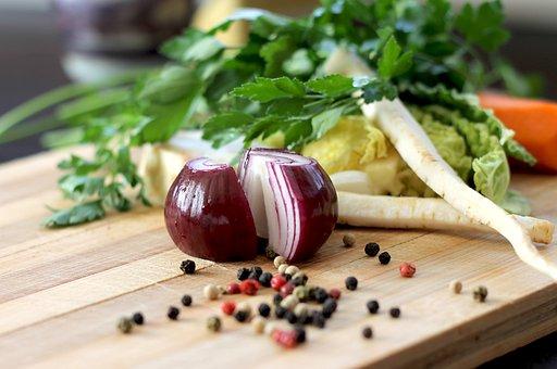 緑の党, タマネギ, スパイス, 野菜, 食品, 料理, カッティング ボード