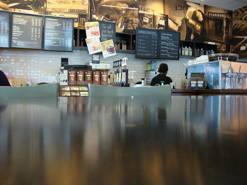 カフェ, スターバックス, コーヒー, レストラン, カウンタ, ダイナー, コーヒー ショップ, ショップ