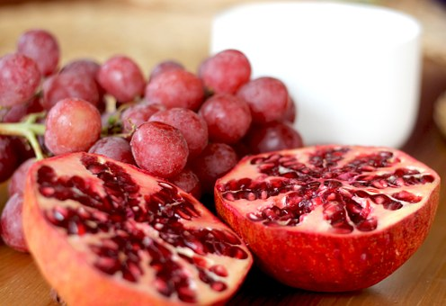 Pomegranate, Grapes, Fruits, Red