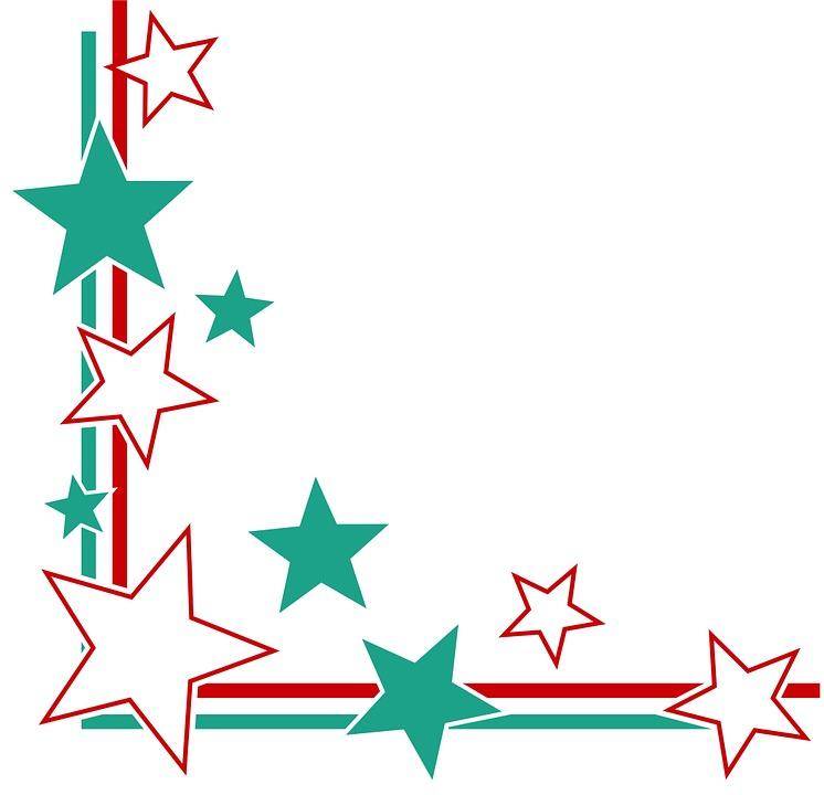 Page Corner Border Frame Lines Stripes Stars