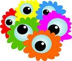 cartoon, eyes, flowers