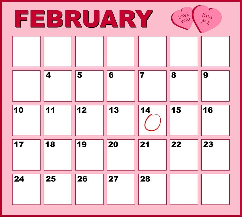 Gratis Illustrasjon Kalender Rosa Februar M 229 Ned