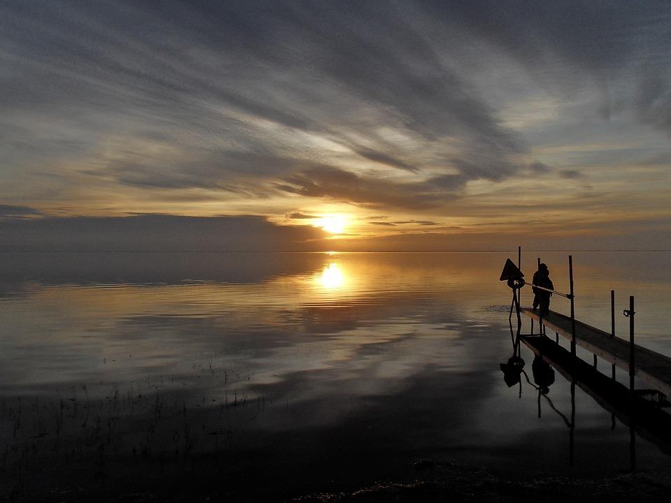 Danmark, Solnedgang, Vand, Skyer, Hav, Ocean, Mole