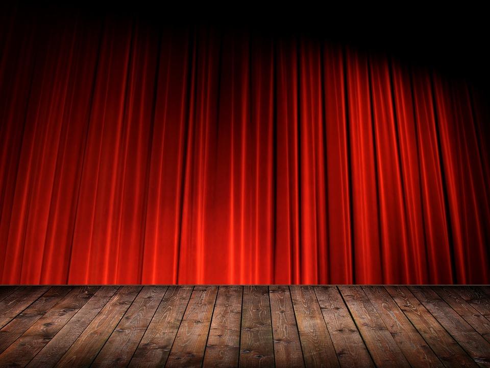 Kurtyna, Teatr, Las Vegas, Czerwony,