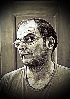 Retrato, Homem Com Óculos, Rosto