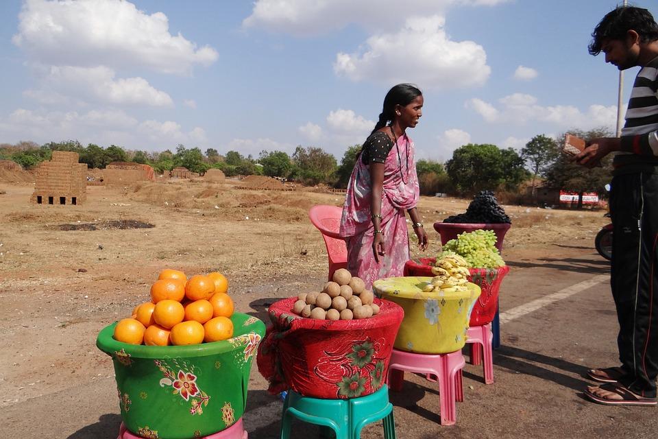 Obsthändler, Dharwad, Indien, Markt, Verkauf, Obst