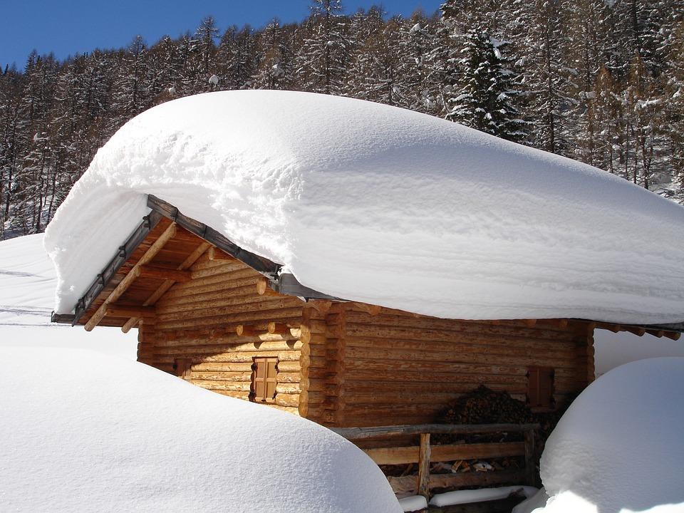 Nice Schnedach, Deep Snow, Snow, Roof, Hut, Alm, Log Cabin