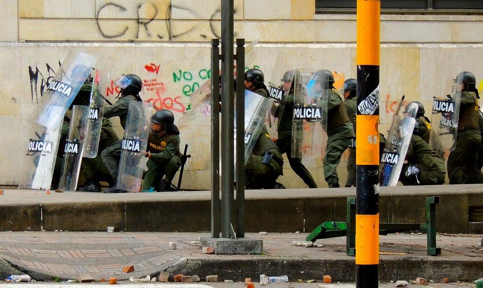 Protesta, Bogota, Polizia, Sommossa, Swat