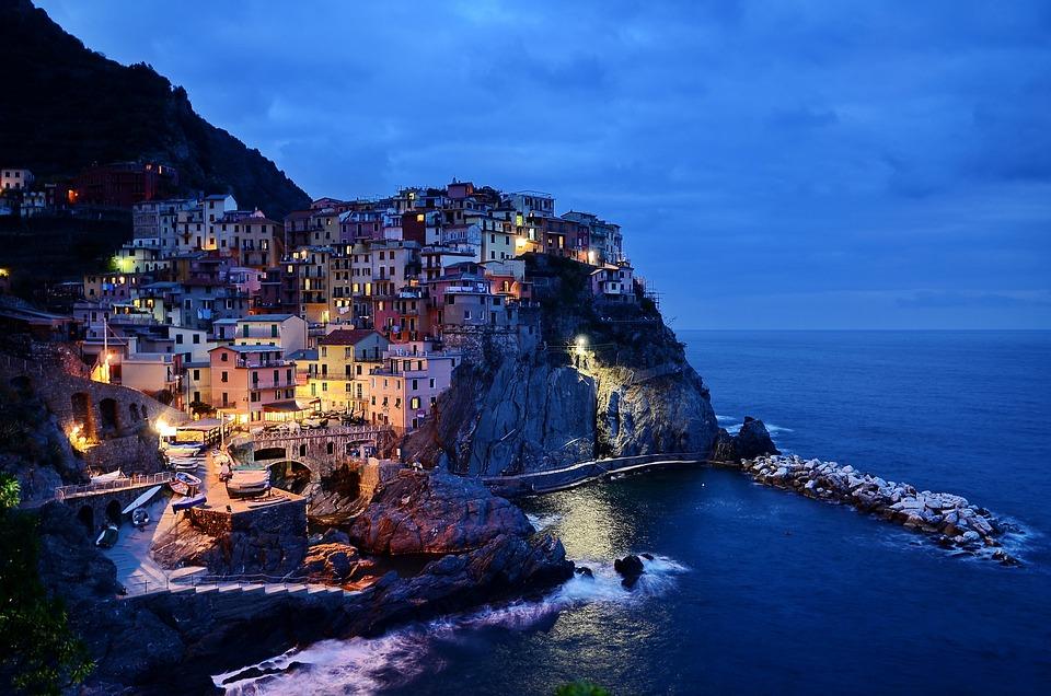 Cinque Terre, Italy, Rocks, Sea, Water, Sunset, Stone