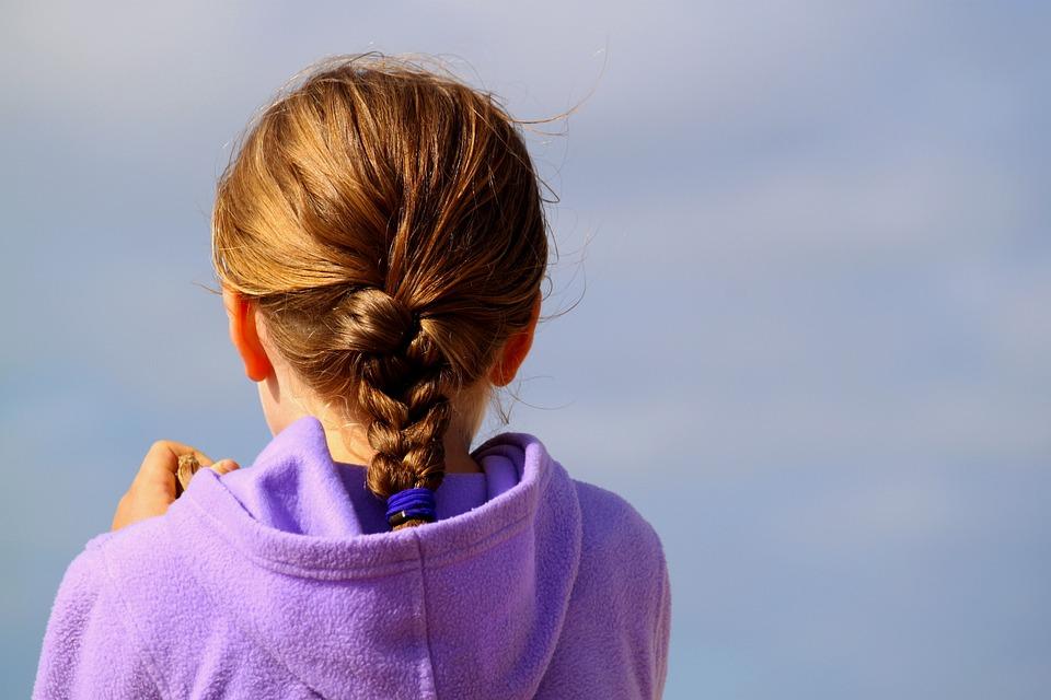 ヘアスタイル, 髪, ひだ, 織り方, 頭, 不織布, 女の子, 人, 心, 子, 長い髪