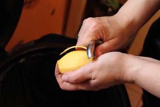 Peel Potato, Hands, Potato, Kitchen Work